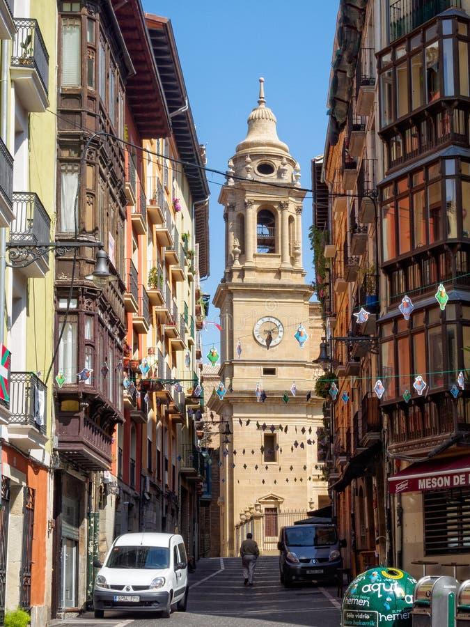 Calle Curia - Pamplona arkivfoton
