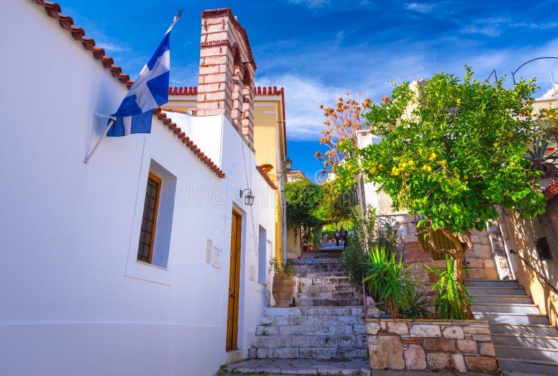 Calle de Anafiotika en la ciudad vieja de Atenas, Grecia Anafiotika es distrito construido por los trabajadores de la isla Anafi fotografía de archivo