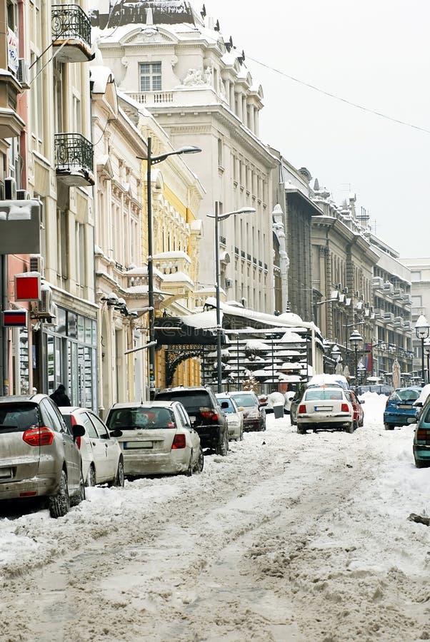 Calle de Belgrado del invierno foto de archivo