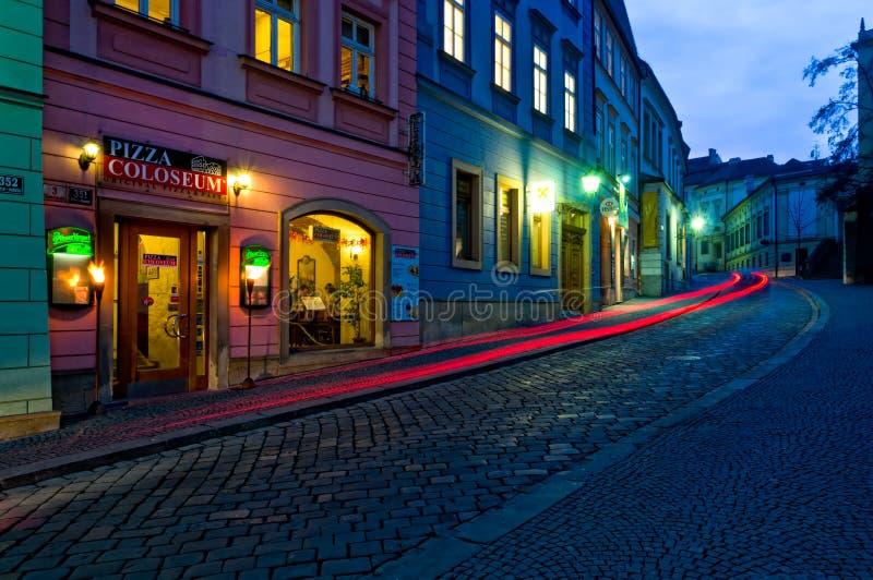 Calle de Dominikanska en Brno. imagen de archivo