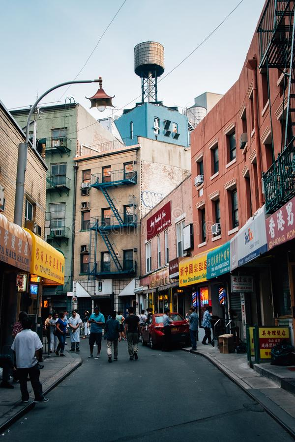 Calle de Doyers, en Chinatown, Manhattan, New York City imagen de archivo