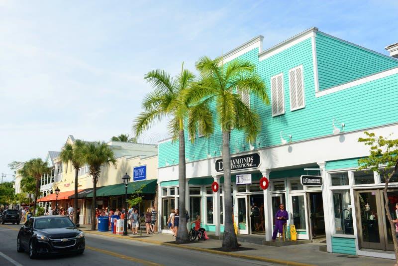 Calle de Duval en Key West, la Florida fotografía de archivo
