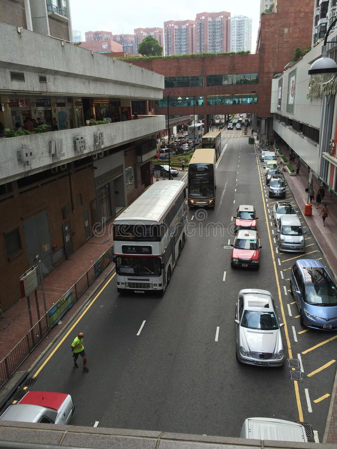 Calle de Hong-Kong, autobús de dos plantas imagen de archivo libre de regalías