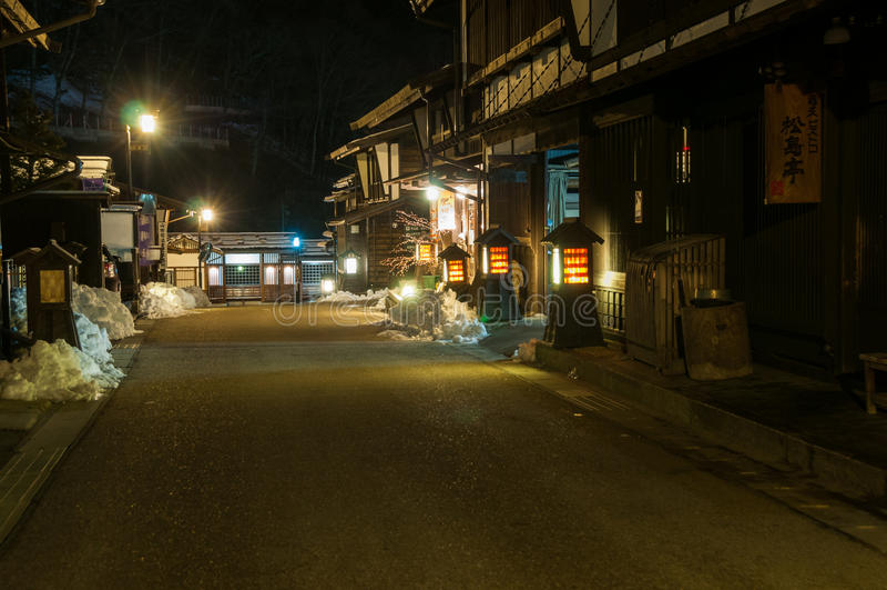 Calle de Kiso-Fukushima en la noche fotografía de archivo libre de regalías