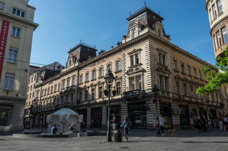 Calle de Knez Mihailova es el zo principal del peatón y de las compras imagen de archivo libre de regalías