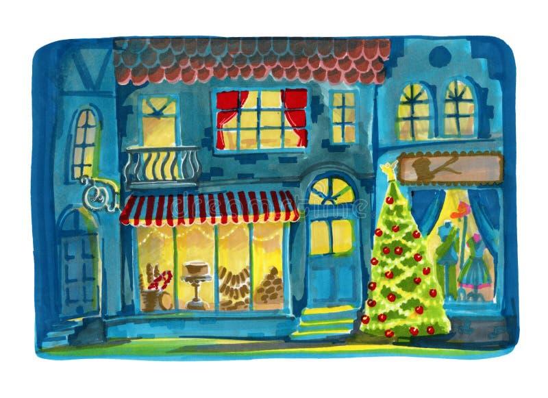 Calle de la ciudad de la acuarela con un escaparate brillante de la Navidad ilustración del vector