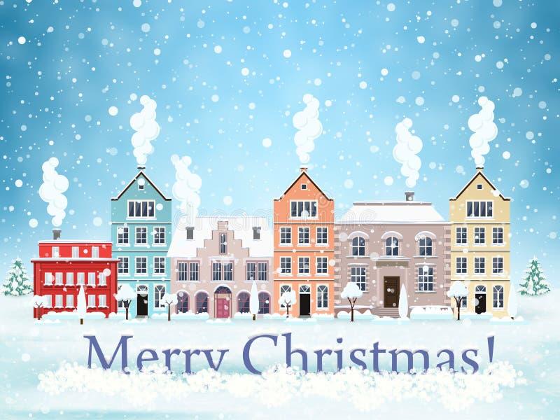 Calle de la ciudad del invierno de la Navidad stock de ilustración