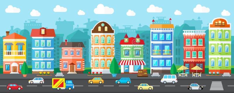 Calle de la ciudad del vector en un diseño plano stock de ilustración