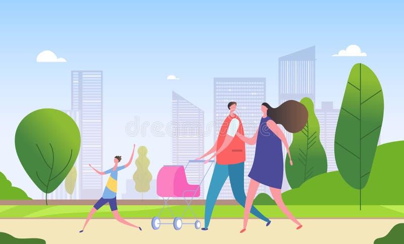Calle de la ciudad de la familia que camina Madre, padre y niños de la historieta junto en paisaje urbano Fin de semana en vector stock de ilustración
