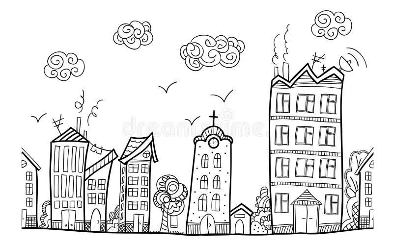 Calle de la ciudad, ornamento repetido stock de ilustración
