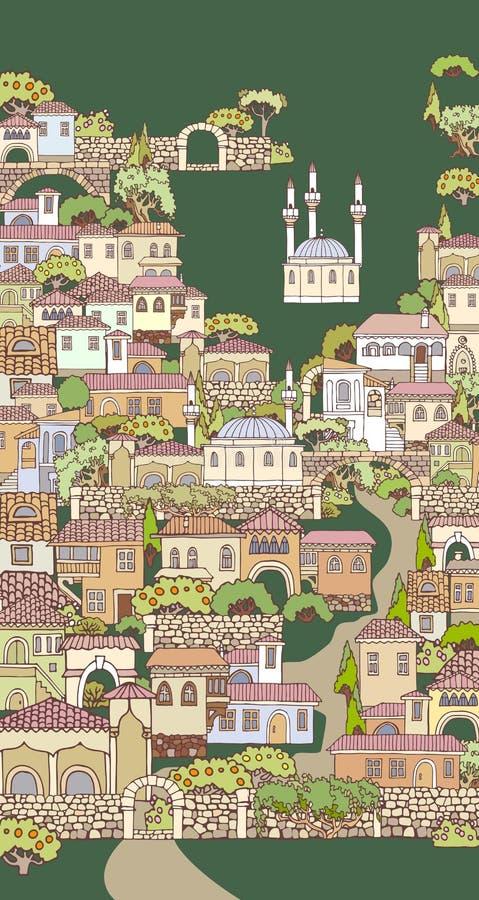 Calle de la ciudad vieja Casas y árboles incompletos dibujados mano Orien stock de ilustración
