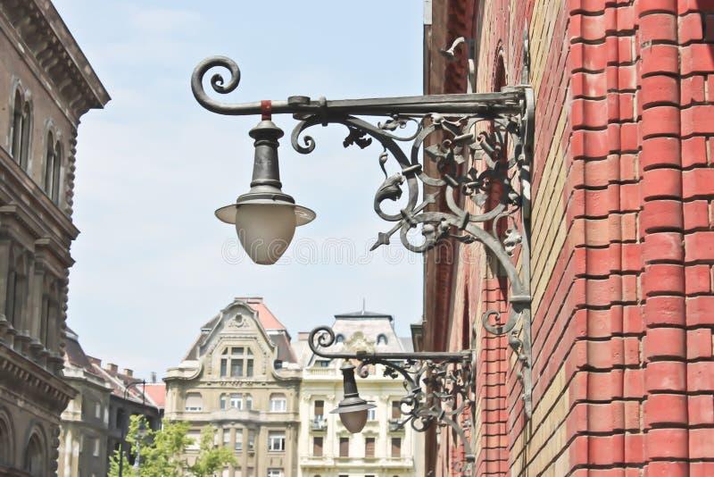 Calle de la lámpara en Budapest fotografía de archivo libre de regalías