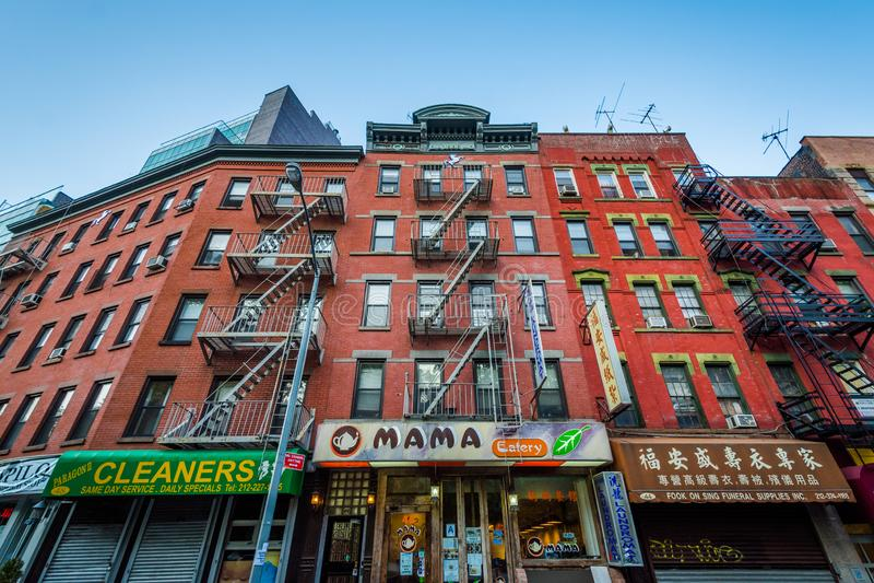 Calle de la mora en Chinatown, en Manhattan, New York City imagen de archivo