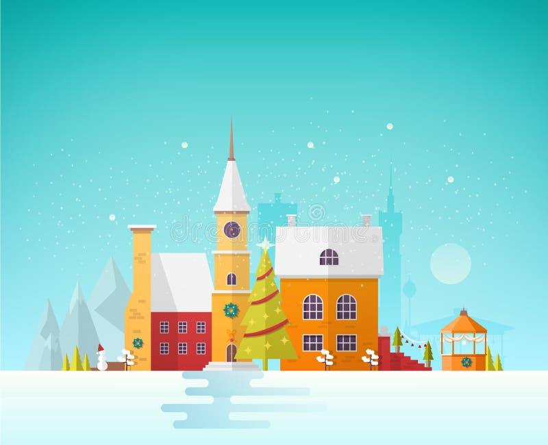 Calle de la pequeña ciudad o pueblo europea en la Nochebuena Paisaje urbano o paisaje con los edificios y la torre de reloj antig stock de ilustración