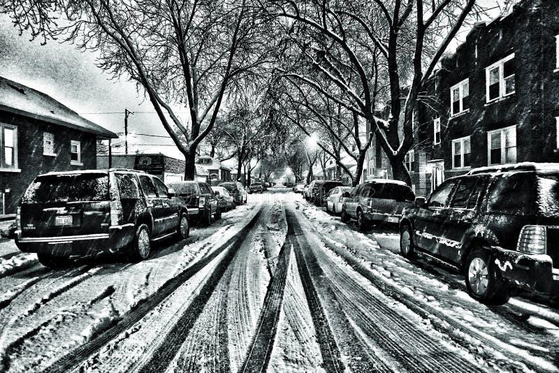 Calle de la vecindad de Chicago foto de archivo