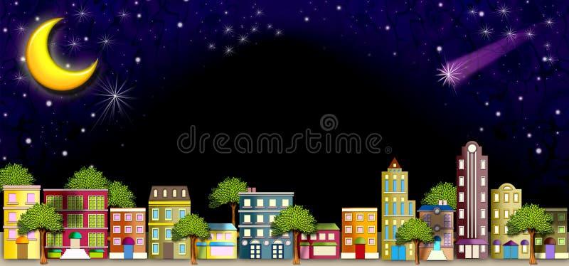 calle de la vecindad en la noche stock de ilustración