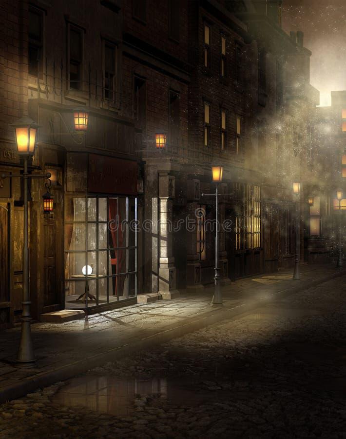 Calle de la vendimia en la noche ilustración del vector