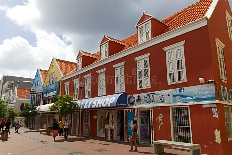 Calle de las compras de Curaçao fotos de archivo