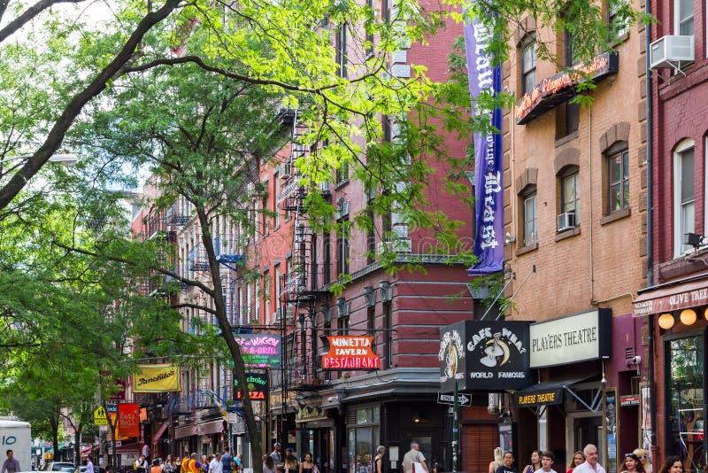 Calle de Macdougal en Greenwich Village en New York City fotografía de archivo libre de regalías