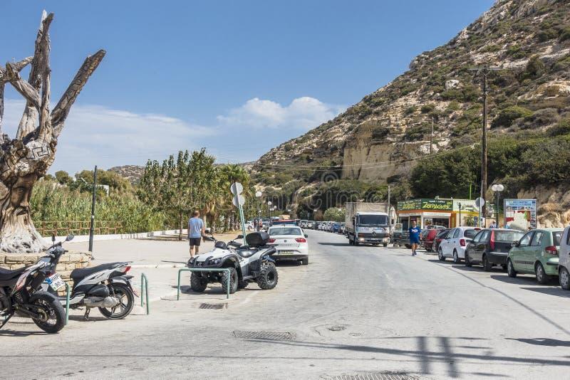 Calle de Matala fotos de archivo libres de regalías