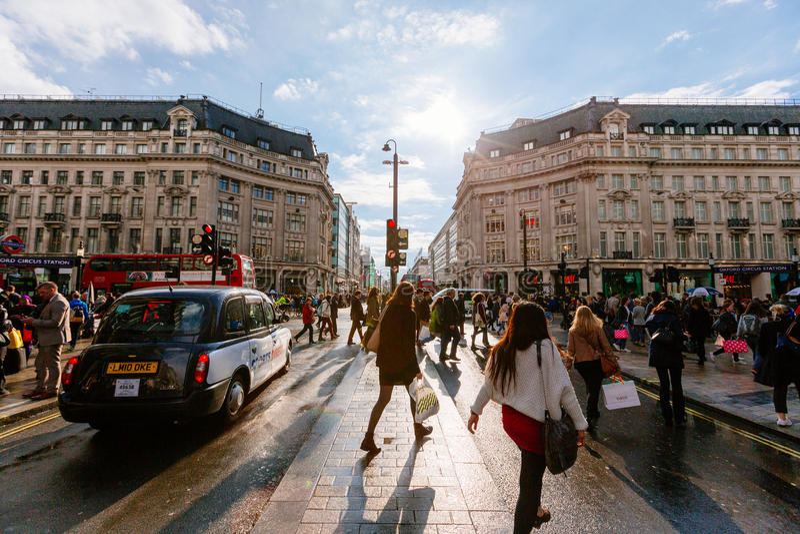 Calle de Oxford, Londres, 13 05 2014 imagen de archivo