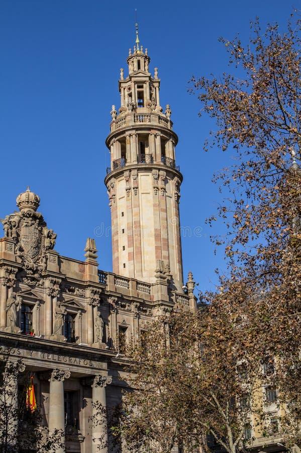Calle de Passeig de Colom en Barcelona fotos de archivo