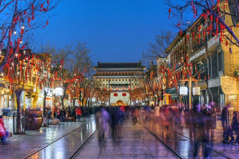 Calle de Qianmen, Pekín, China foto de archivo libre de regalías