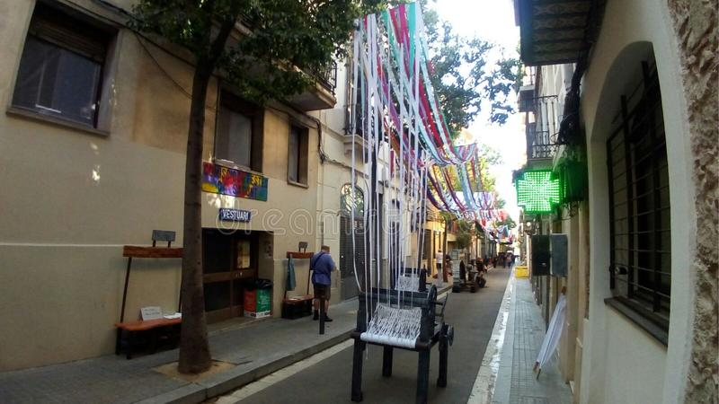 Calle 2017 de Sants Barcelona de las fiestas Sagunt fotos de archivo libres de regalías