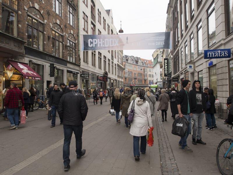 Calle de Strøget, Copenhague Dinamarca imágenes de archivo libres de regalías