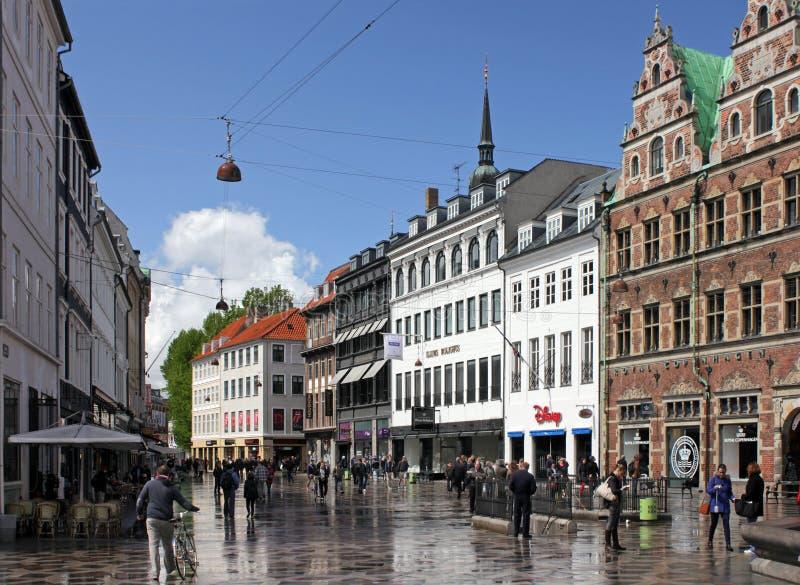 Calle de Stroget, Copenhague fotografía de archivo