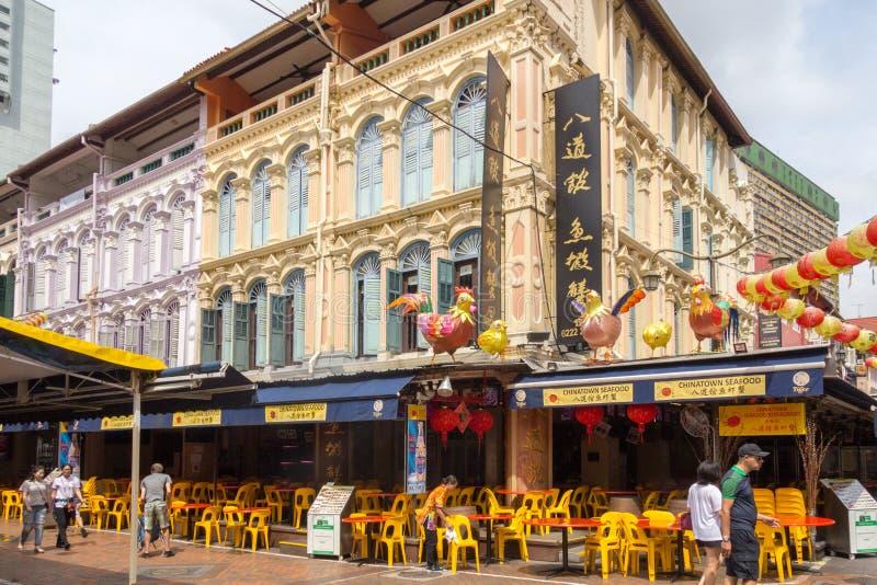 Calle de Trengganu de la marisquería de Chinatown, Chinatown, Singapur fotos de archivo