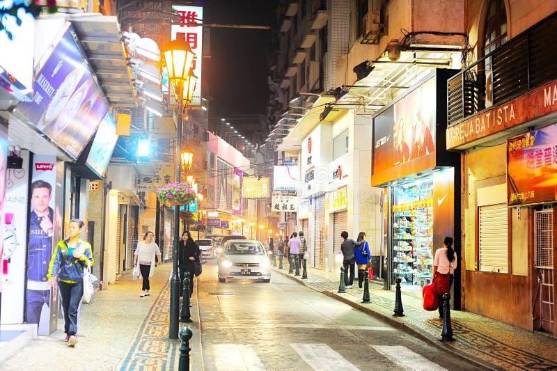 Calle del centro de Macao foto de archivo