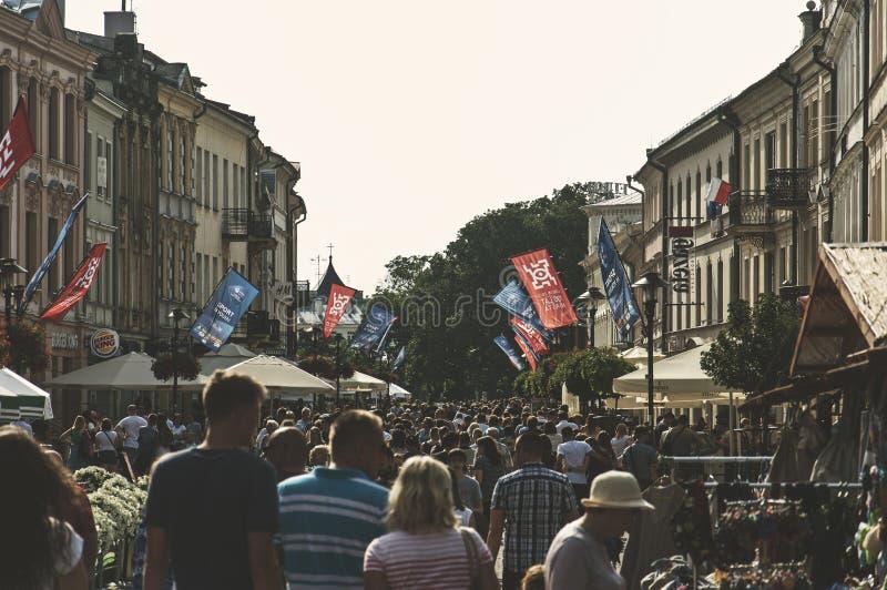 Calle del cie del› de LUBLIN, POLONIA 25 de junio de 2017 - Krakowskie PrzedmieÅ, dow imágenes de archivo libres de regalías