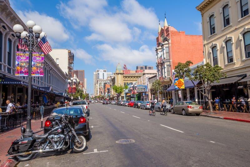 Calle del cuarto de Gaslamp en San Diego fotos de archivo libres de regalías