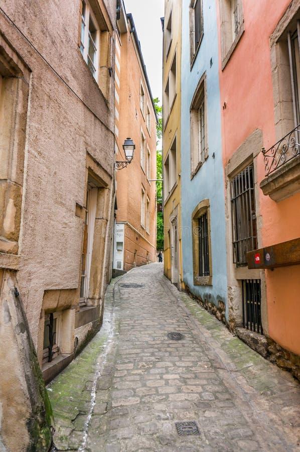 Calle del guijarro en Luxemburgo imagen de archivo