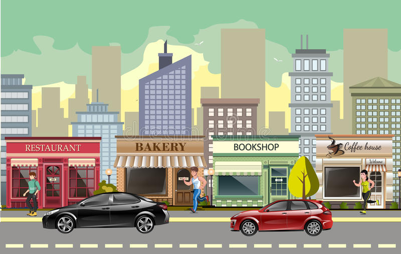 Calle del paisaje con los coches libre illustration