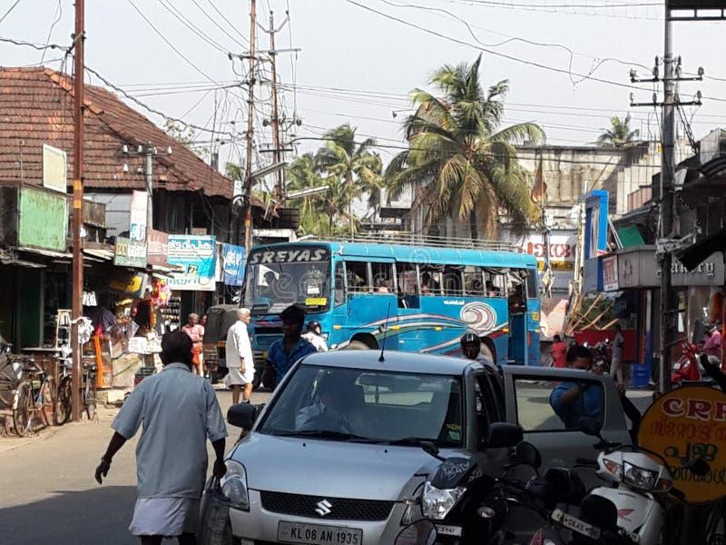 Calle del pueblo de Tyoical en Kerala foto de archivo libre de regalías
