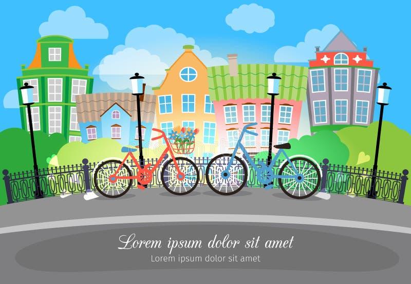 Calle del puente de la ciudad con las bicis y las luces ilustración del vector