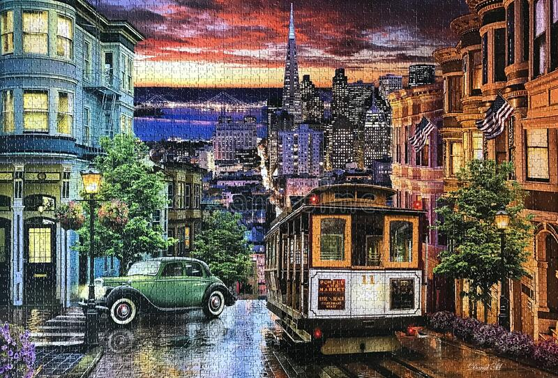 Calle del Viejo San Francisco, imagen de rompecabezas imágenes de archivo libres de regalías