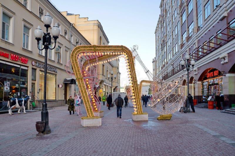 Calle en días festivos del ` un s del Año Nuevo, Moscú, Rusia de Arbat foto de archivo