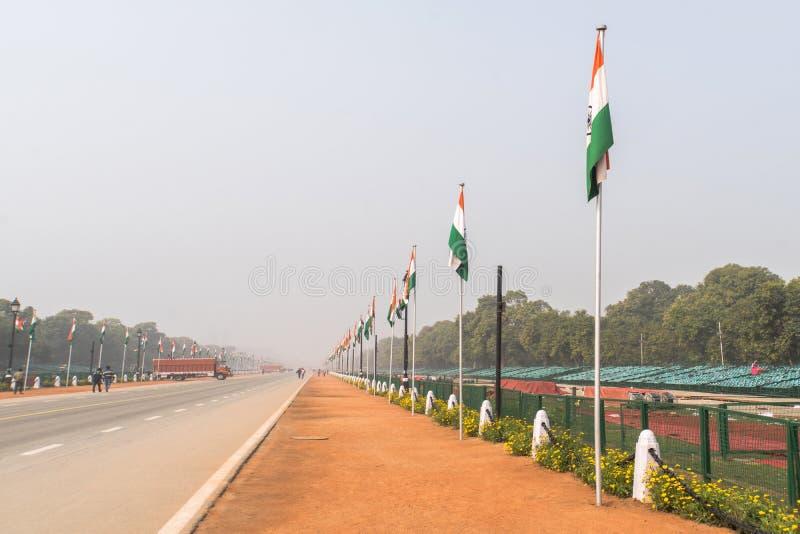 Calle en el camino de Nueva Deli Rajpath La India durante el desfile en el día de la celebración del día de la república Calle va imagenes de archivo