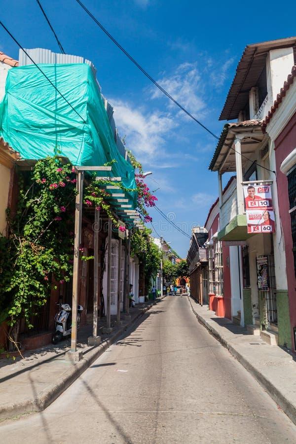 Calle en el centro de Cartagena imágenes de archivo libres de regalías