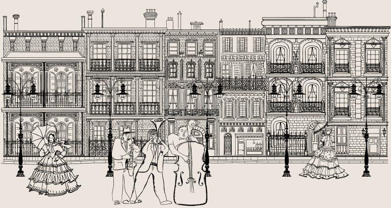 Calle en el estilo de New Orleans con el músico de jazz stock de ilustración