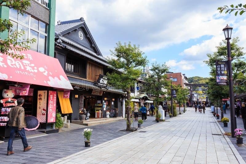 Calle en el fron de Dazaifu Tenmangu foto de archivo
