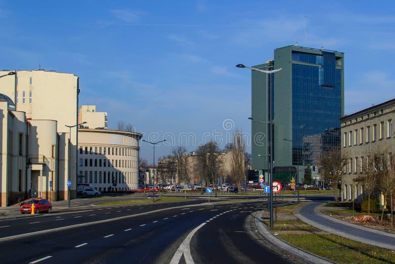 Calle en la ciudad de Lodz, Polonia imágenes de archivo libres de regalías