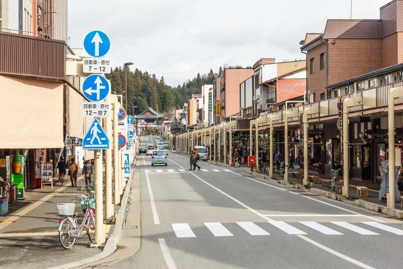 Calle en la ciudad vieja de Takayama imagen de archivo