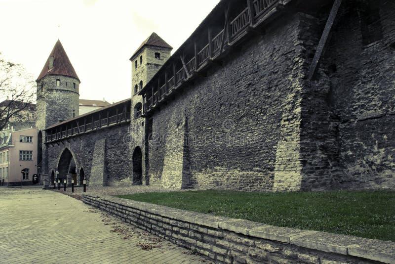 Calle en la ciudad vieja de Tallinn con una pared de piedra vieja imágenes de archivo libres de regalías