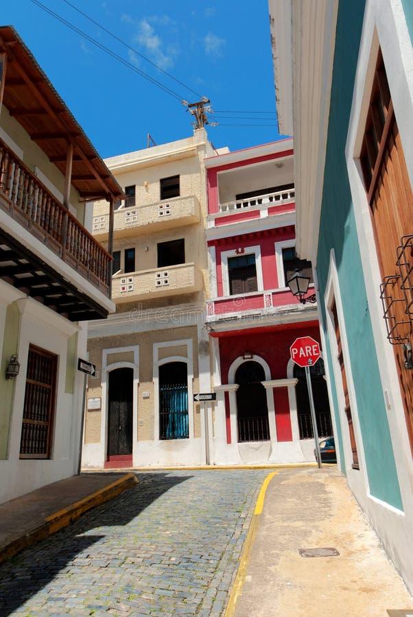 Calle en San Juan viejo, Puerto Rico imagenes de archivo