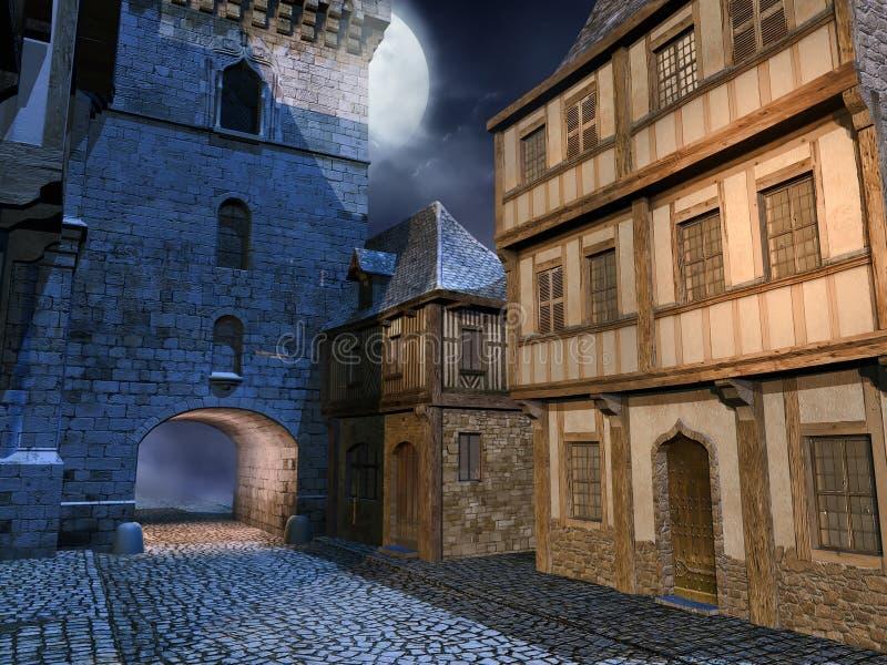 Calle en una ciudad medieval ilustración del vector