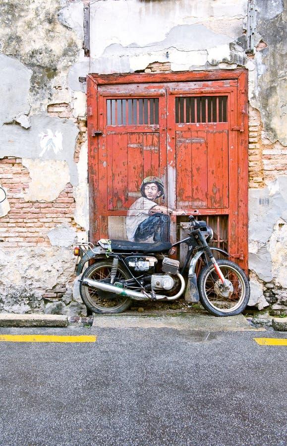 Calle famosa Art Mural en George Town, sitio de la herencia de la UNESCO de Penang, Malasia foto de archivo
